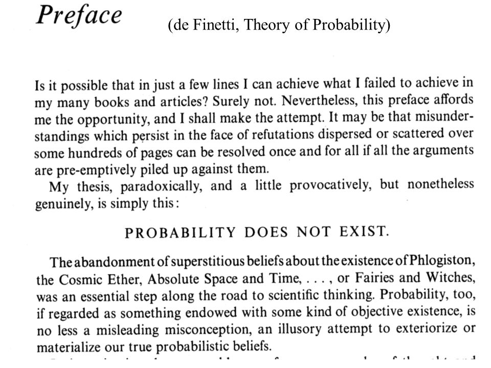 (de Finetti, Theory of Probability)