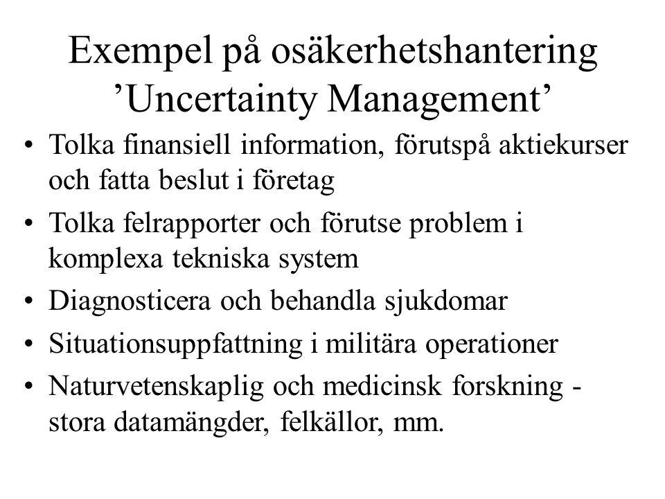 Exempel på osäkerhetshantering 'Uncertainty Management'