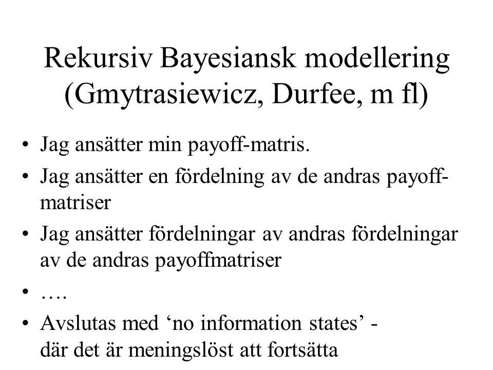 Rekursiv Bayesiansk modellering (Gmytrasiewicz, Durfee, m fl)