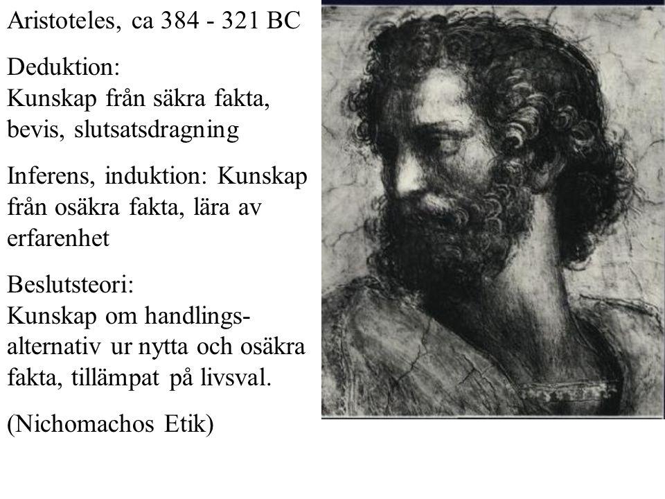 Aristoteles, ca 384 - 321 BC Deduktion: Kunskap från säkra fakta, bevis, slutsatsdragning.