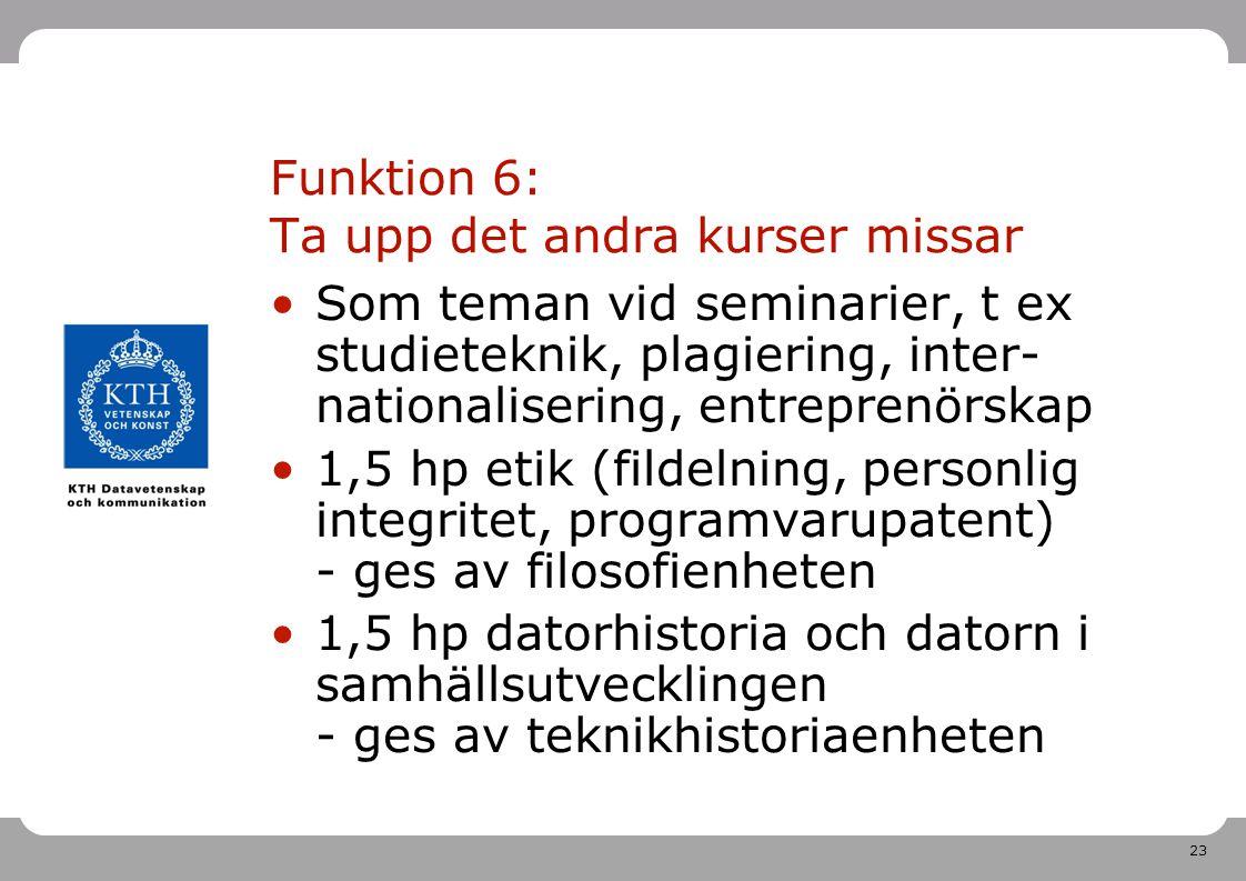 Funktion 6: Ta upp det andra kurser missar