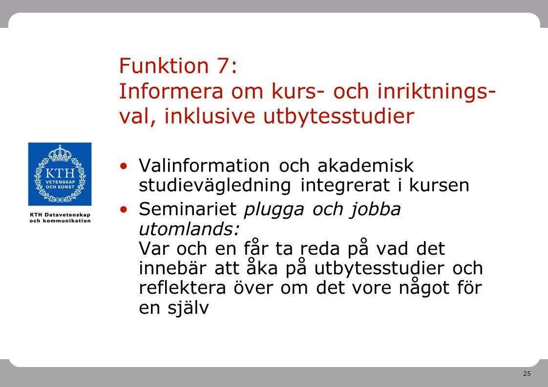 Prosam: inför årskurs 3 2011-04-26. Funktion 7: Informera om kurs- och inriktnings-val, inklusive utbytesstudier.