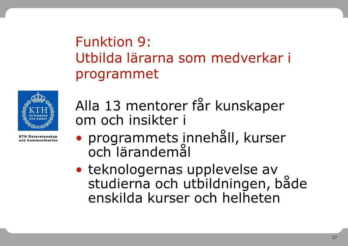 Funktion 9: Utbilda lärarna som medverkar i programmet