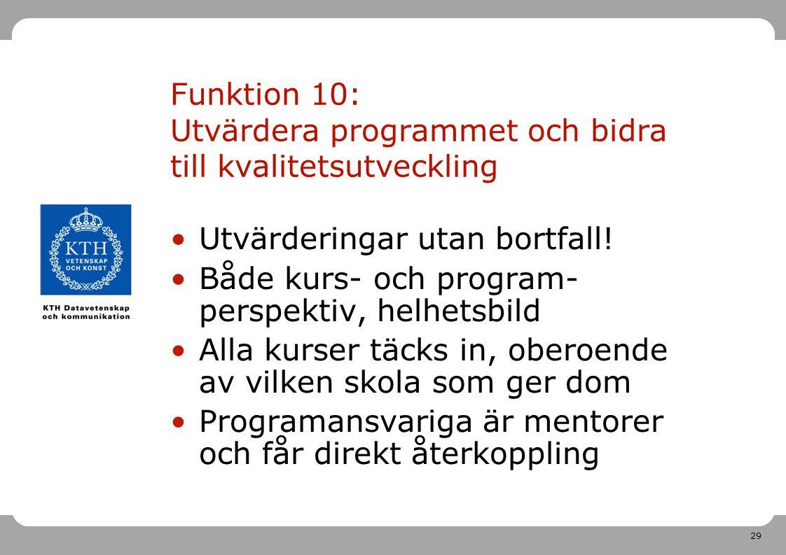 Funktion 10: Utvärdera programmet och bidra till kvalitetsutveckling