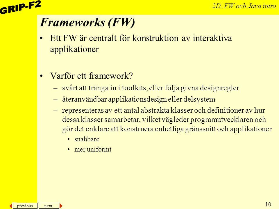 Frameworks (FW) Ett FW är centralt för konstruktion av interaktiva applikationer. Varför ett framework