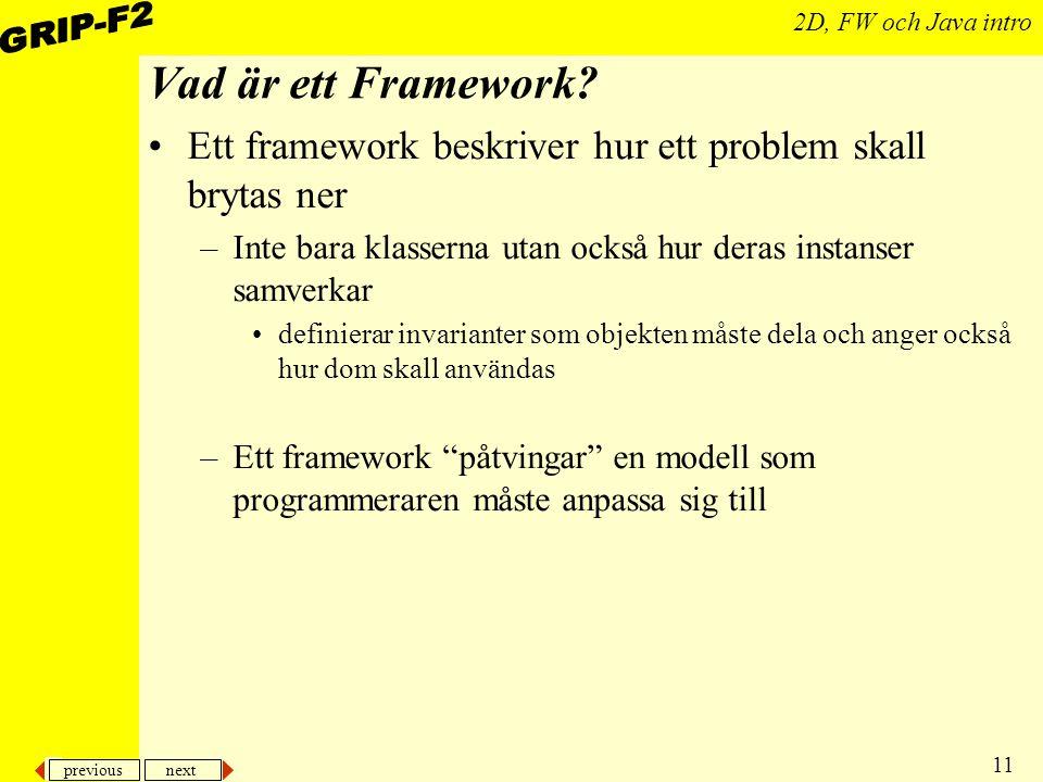 Vad är ett Framework Ett framework beskriver hur ett problem skall brytas ner. Inte bara klasserna utan också hur deras instanser samverkar.