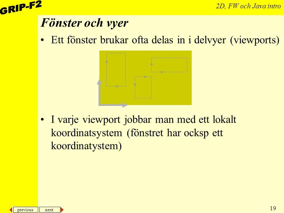 Fönster och vyer Ett fönster brukar ofta delas in i delvyer (viewports)