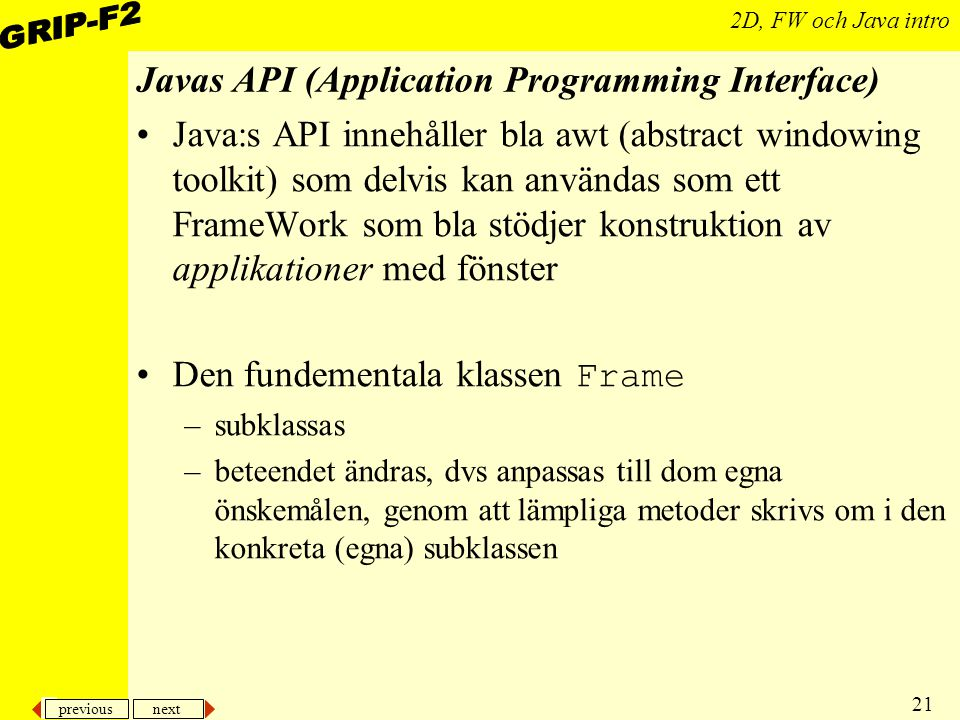 Javas API (Application Programming Interface)