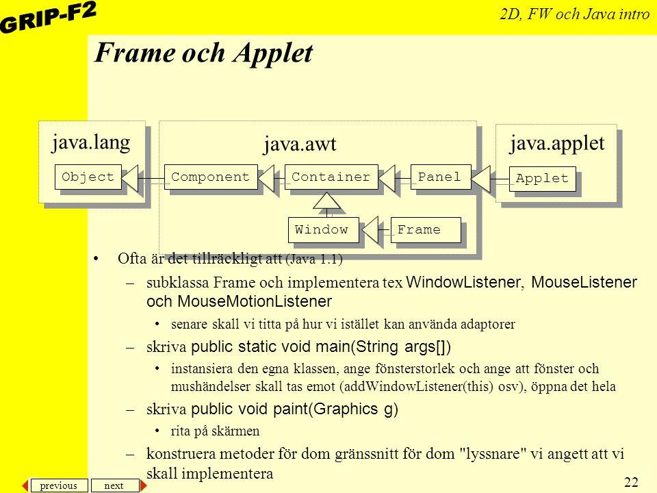 Frame och Applet java.lang java.awt java.applet