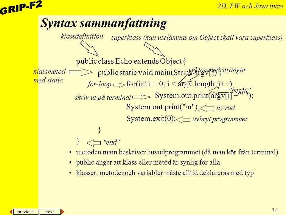 Syntax sammanfattning