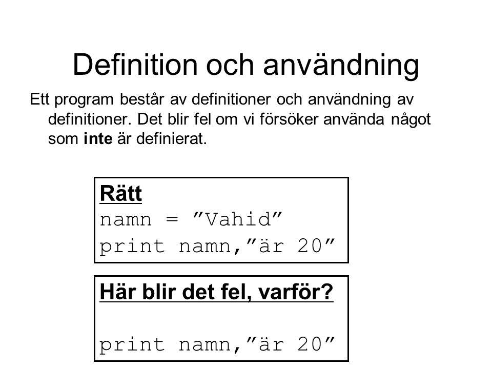 Definition och användning