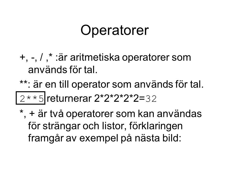 Operatorer +, -, / ,* :är aritmetiska operatorer som används för tal.