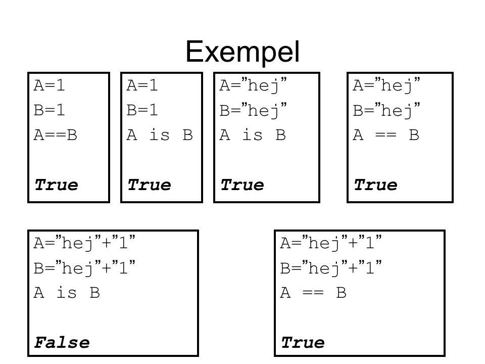 Exempel A=1 B=1 A==B True A=1 B=1 A is B True A= hej B= hej A is B