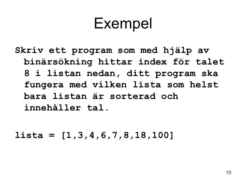 Datalogi för E1 2005-11-14. Exempel.