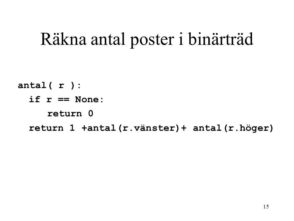 Räkna antal poster i binärträd