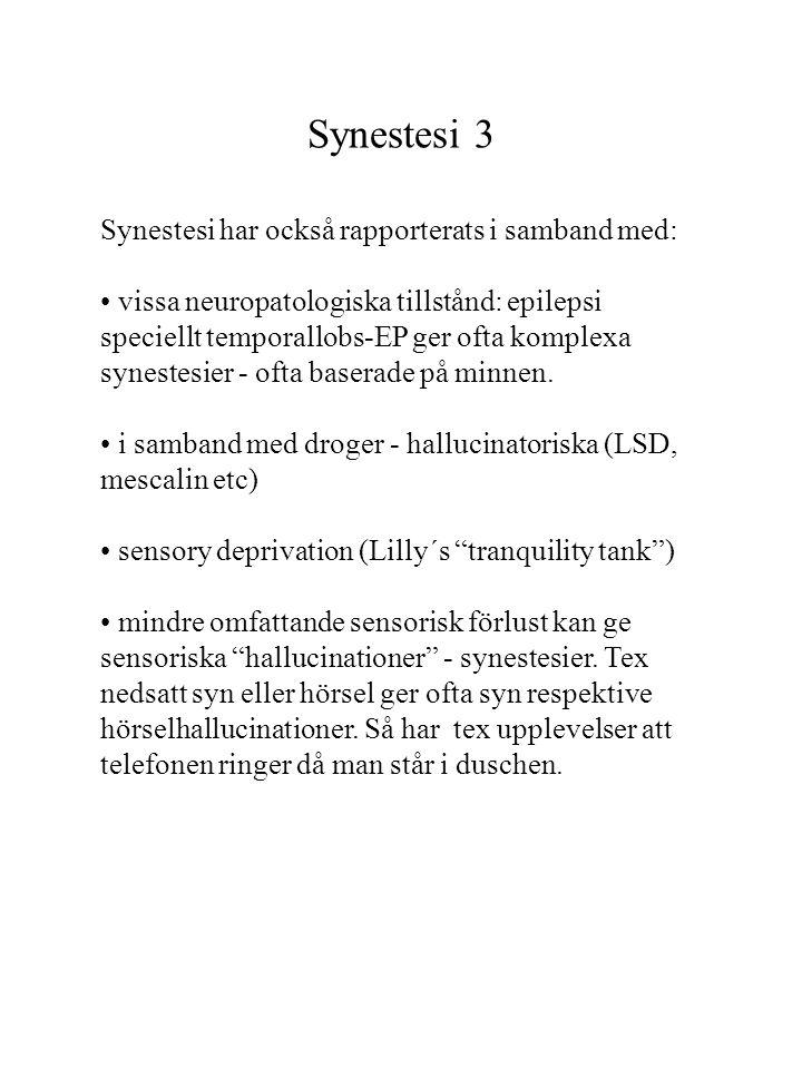 Synestesi 3 Synestesi har också rapporterats i samband med: