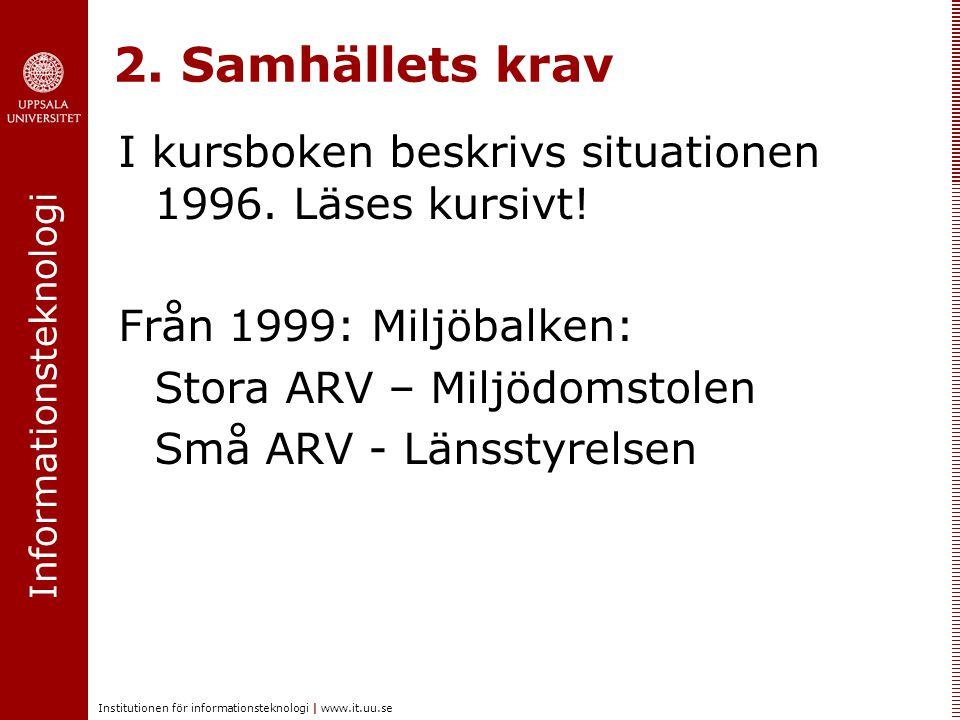 2. Samhällets krav I kursboken beskrivs situationen 1996. Läses kursivt! Från 1999: Miljöbalken: Stora ARV – Miljödomstolen.