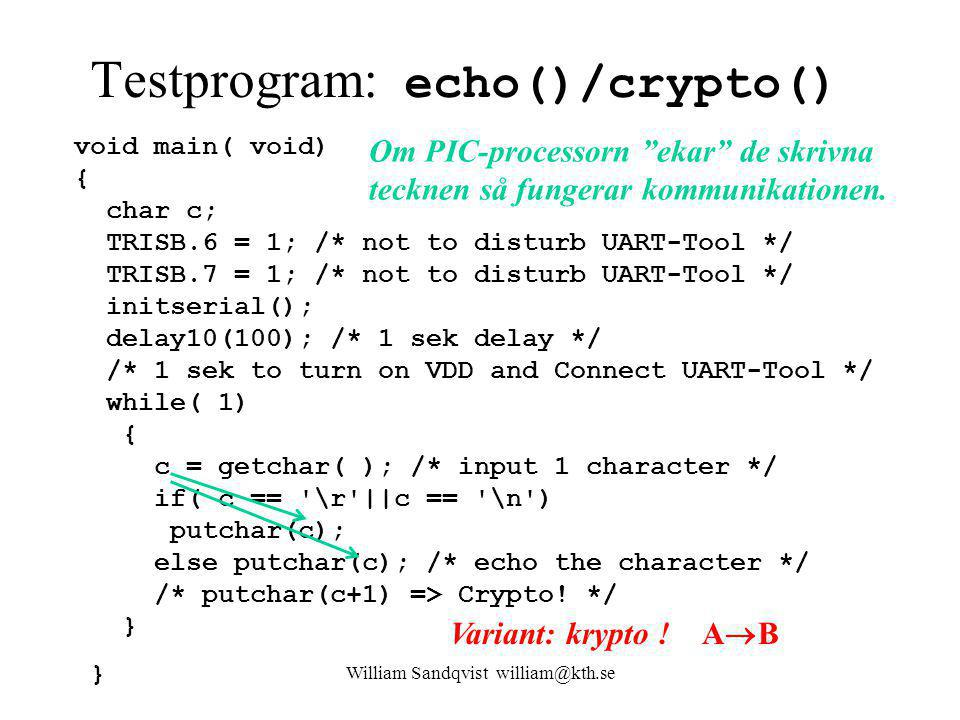 Testprogram: echo()/crypto()