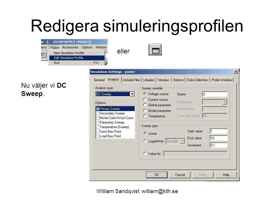 Redigera simuleringsprofilen