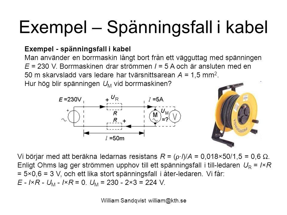 Exempel – Spänningsfall i kabel