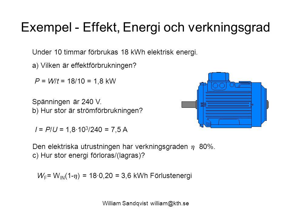 Exempel - Effekt, Energi och verkningsgrad