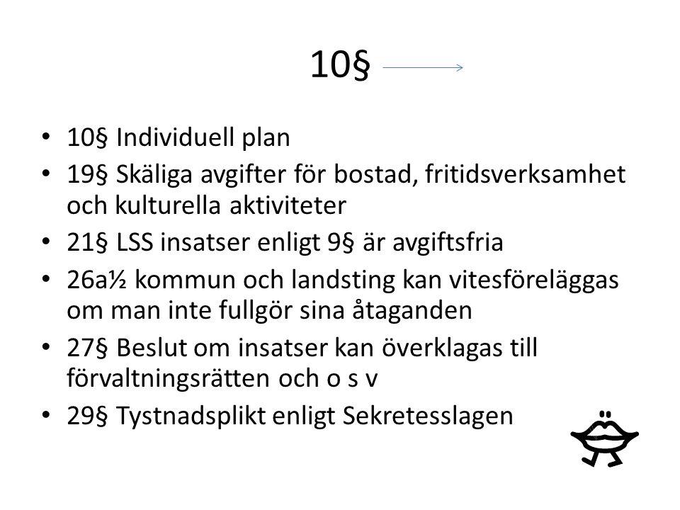 10§ 10§ Individuell plan. 19§ Skäliga avgifter för bostad, fritidsverksamhet och kulturella aktiviteter.
