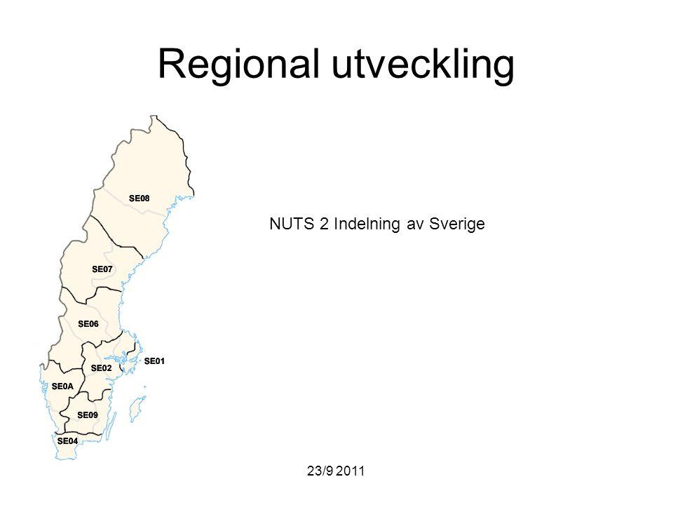 Regional utveckling NUTS 2 Indelning av Sverige 23/9 2011