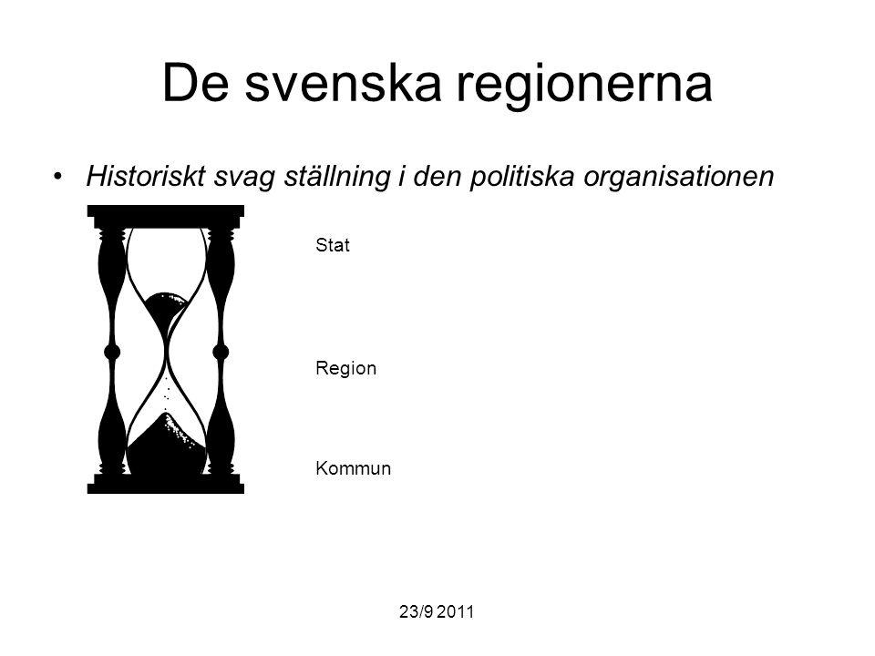 De svenska regionerna Historiskt svag ställning i den politiska organisationen. Stat. Region. Kommun.