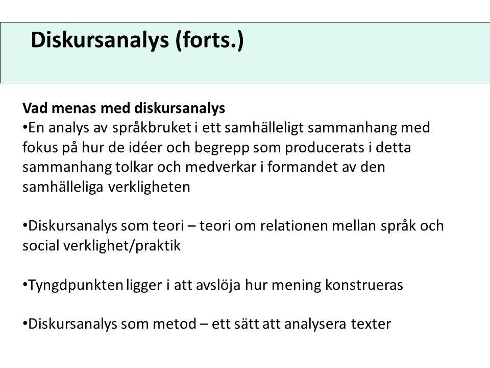 Diskursanalys (forts.)