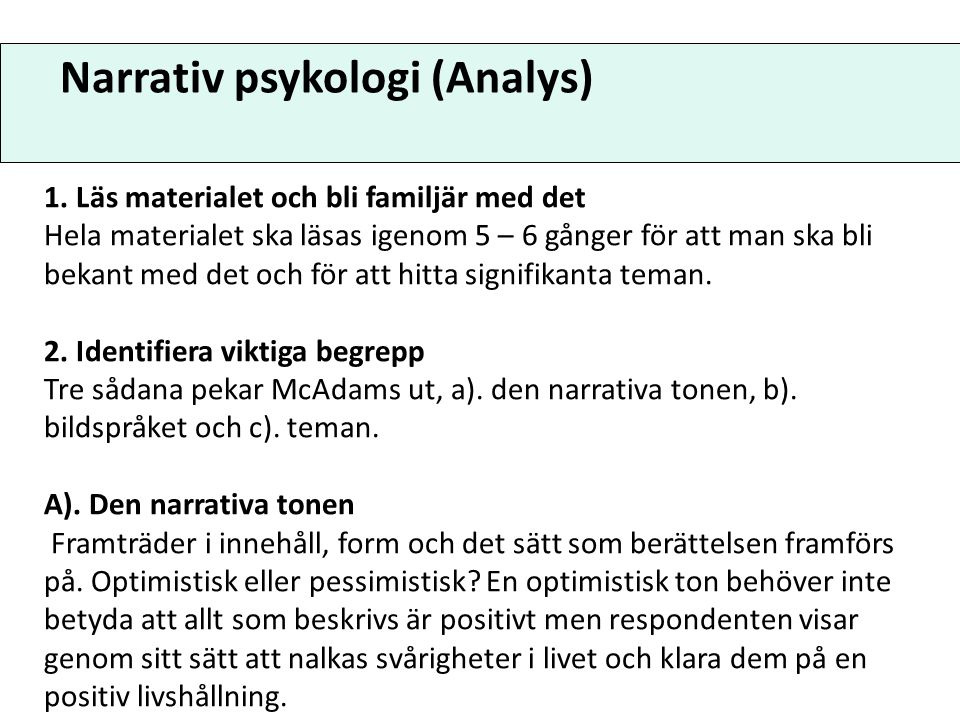 Narrativ psykologi (Analys)