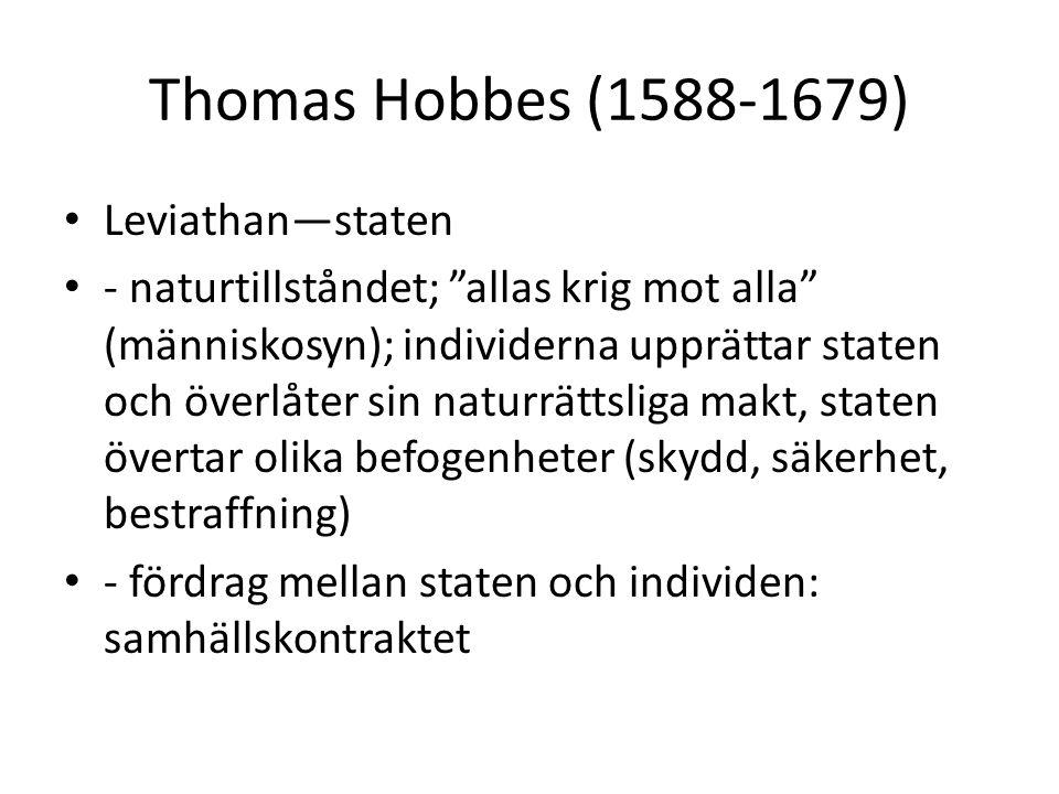 Thomas Hobbes (1588-1679) Leviathan—staten