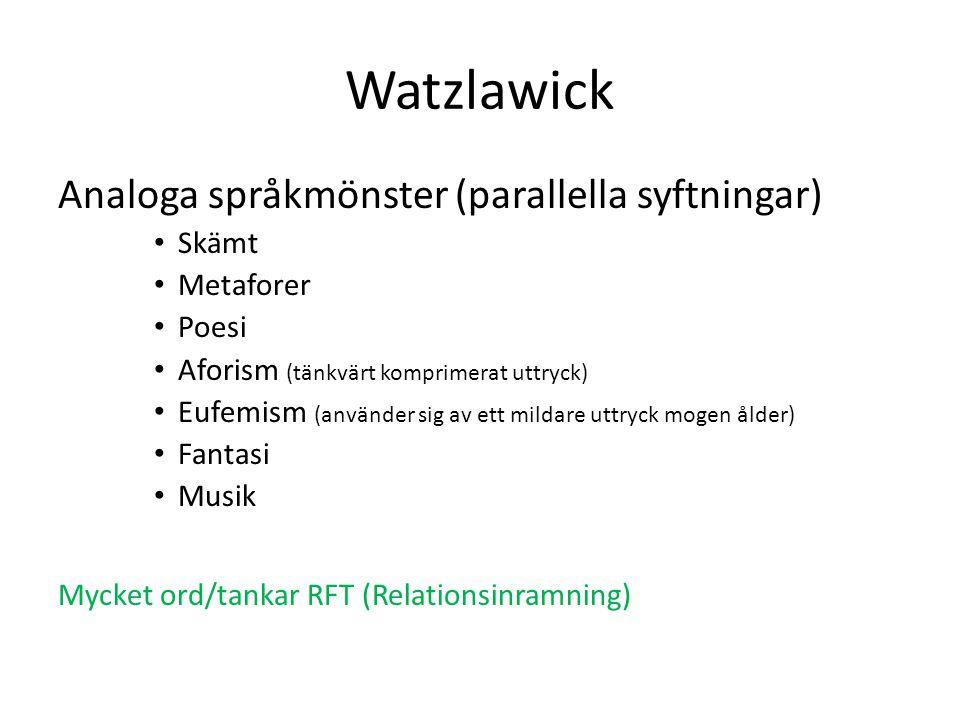 Watzlawick Analoga språkmönster (parallella syftningar) Skämt