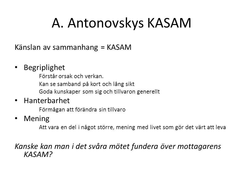 A. Antonovskys KASAM Känslan av sammanhang = KASAM Begriplighet