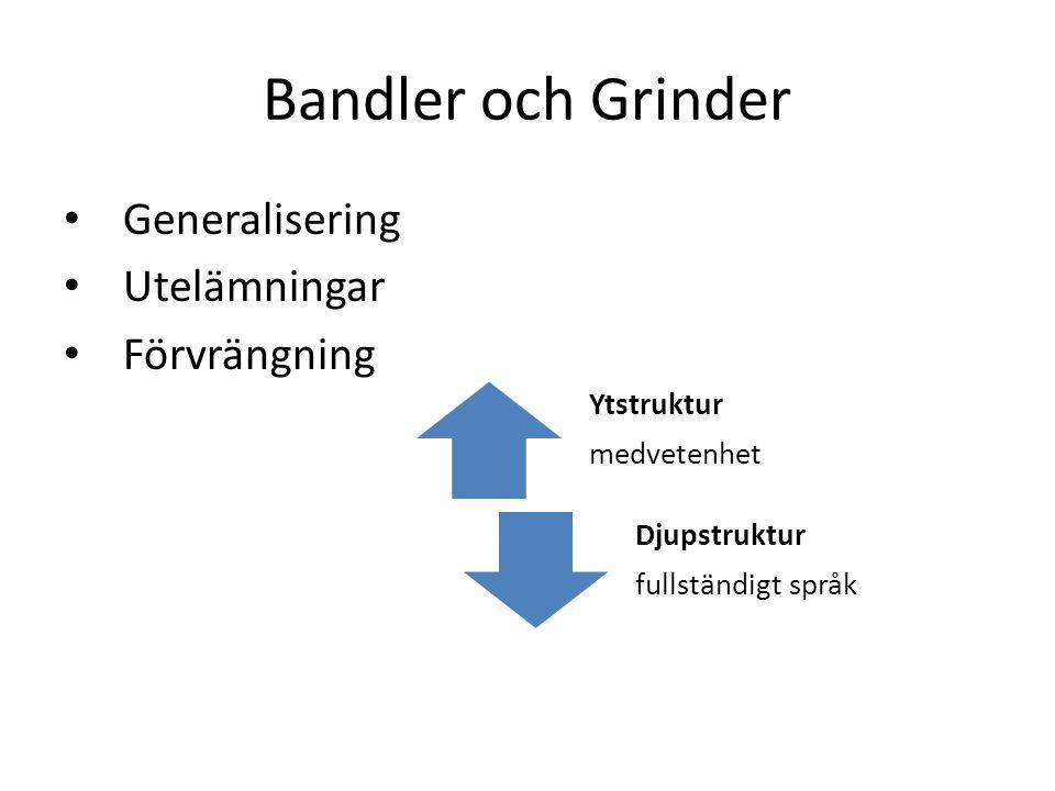 Bandler och Grinder Generalisering Utelämningar Förvrängning