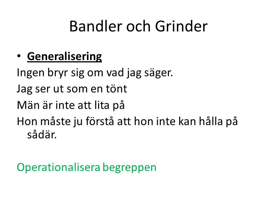 Bandler och Grinder Generalisering Ingen bryr sig om vad jag säger.