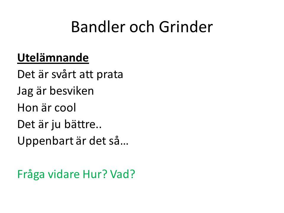 Bandler och Grinder Utelämnande Det är svårt att prata Jag är besviken Hon är cool Det är ju bättre..