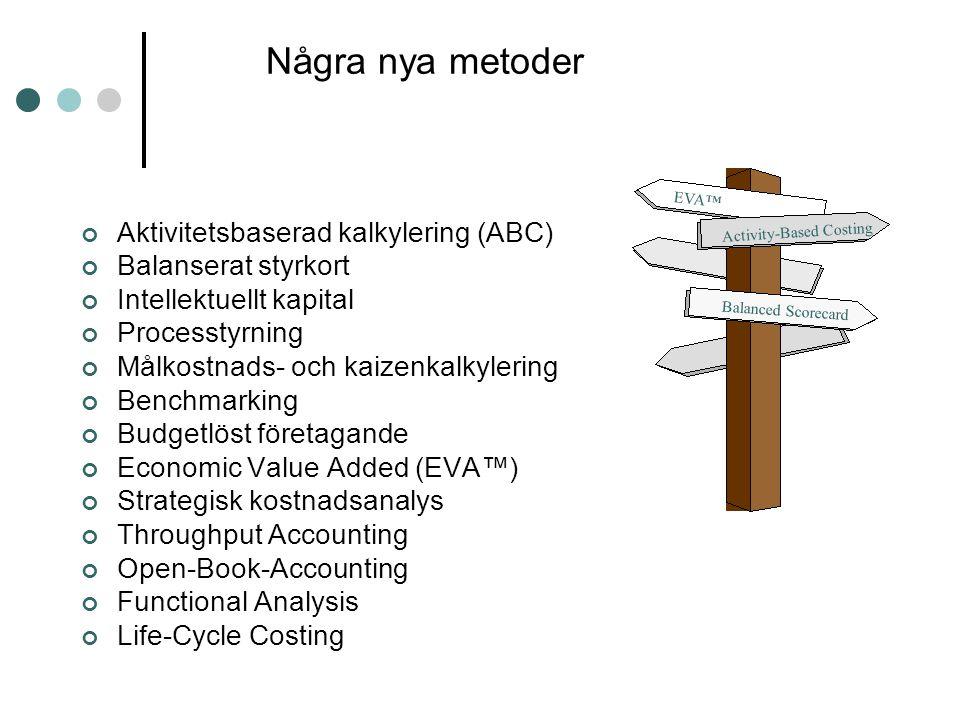 Några nya metoder Aktivitetsbaserad kalkylering (ABC)