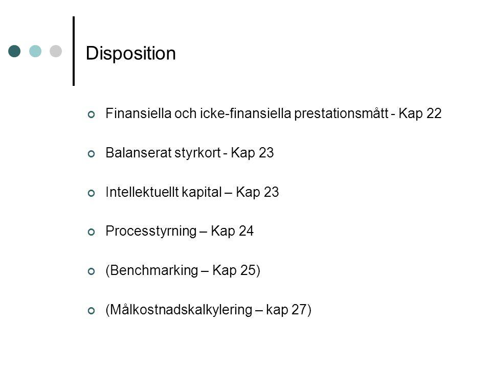 Disposition Finansiella och icke-finansiella prestationsmått - Kap 22