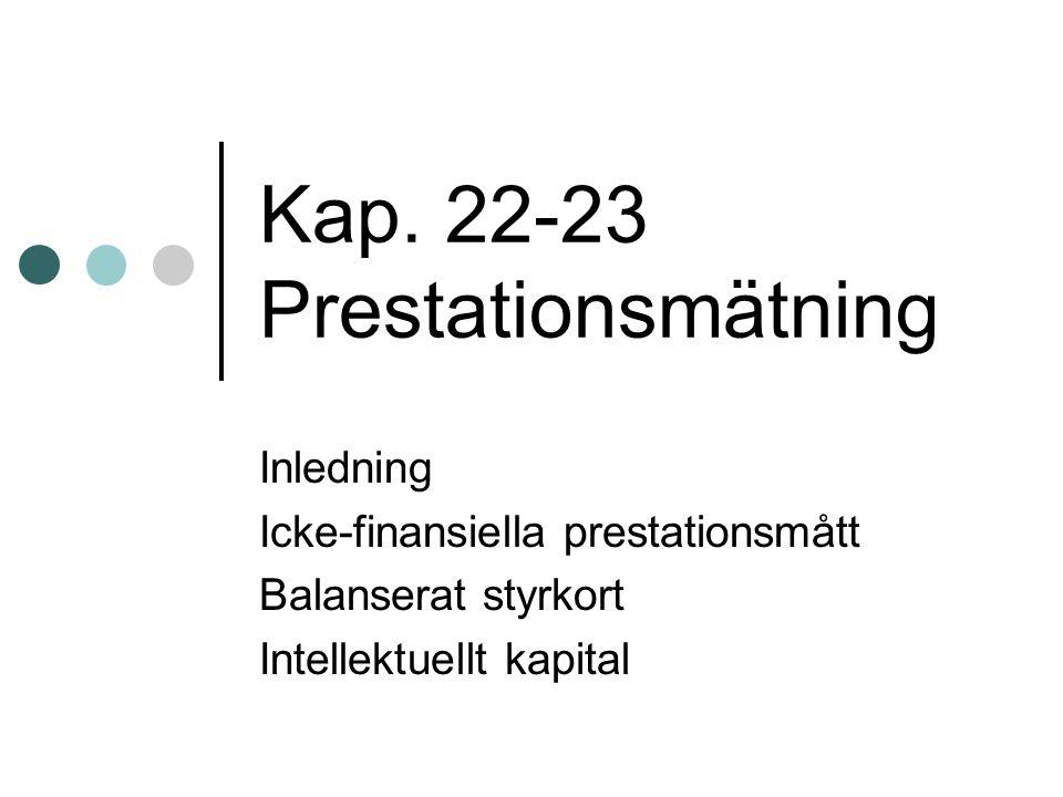 Kap. 22-23 Prestationsmätning