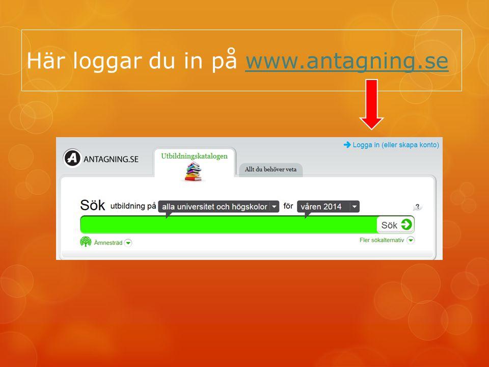 Här loggar du in på www.antagning.se