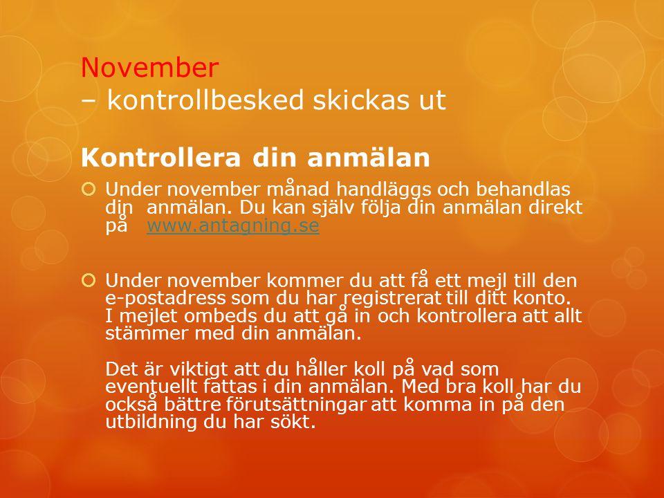 November – kontrollbesked skickas ut