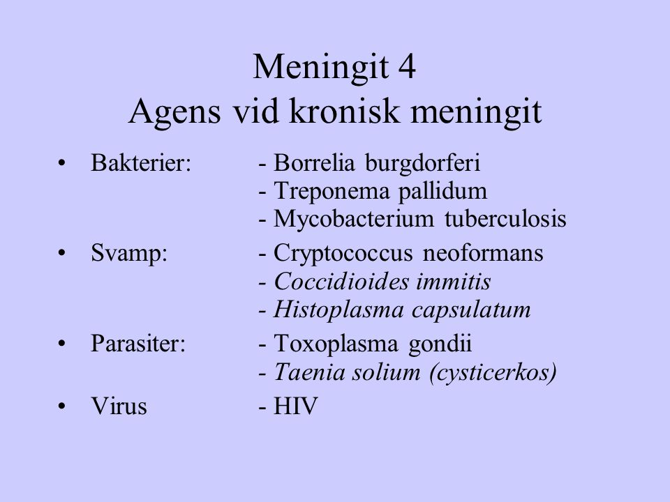 Meningit 4 Agens vid kronisk meningit