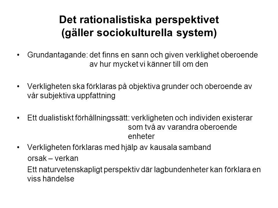 Det rationalistiska perspektivet (gäller sociokulturella system)