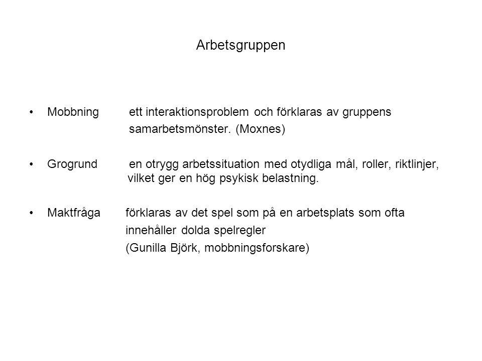 Arbetsgruppen Mobbning ett interaktionsproblem och förklaras av gruppens. samarbetsmönster. (Moxnes)