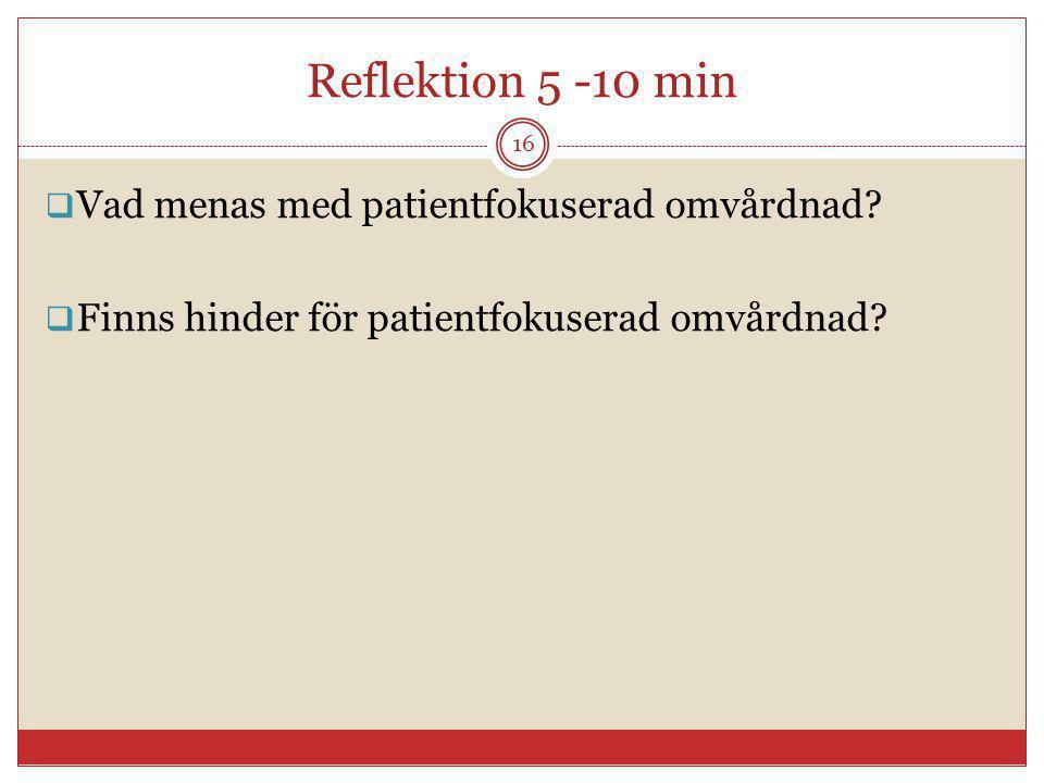 Reflektion 5 -10 min Vad menas med patientfokuserad omvårdnad