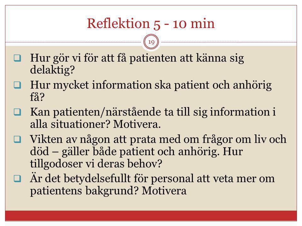 Reflektion 5 - 10 min Hur gör vi för att få patienten att känna sig delaktig Hur mycket information ska patient och anhörig få