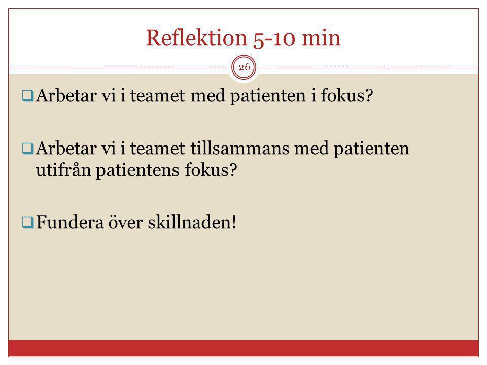 Reflektion 5-10 min Arbetar vi i teamet med patienten i fokus