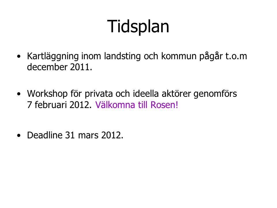 Tidsplan Kartläggning inom landsting och kommun pågår t.o.m december 2011.