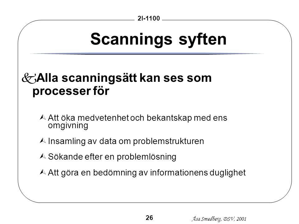 Scannings syften Alla scanningsätt kan ses som processer för