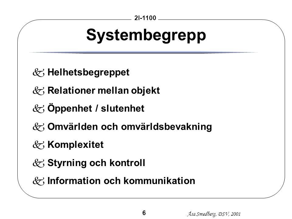 Systembegrepp Helhetsbegreppet Relationer mellan objekt
